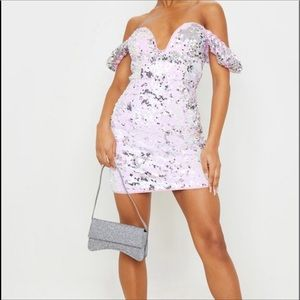 Lilac Sequin Short Sleeve Plunge Bodycon Dress
